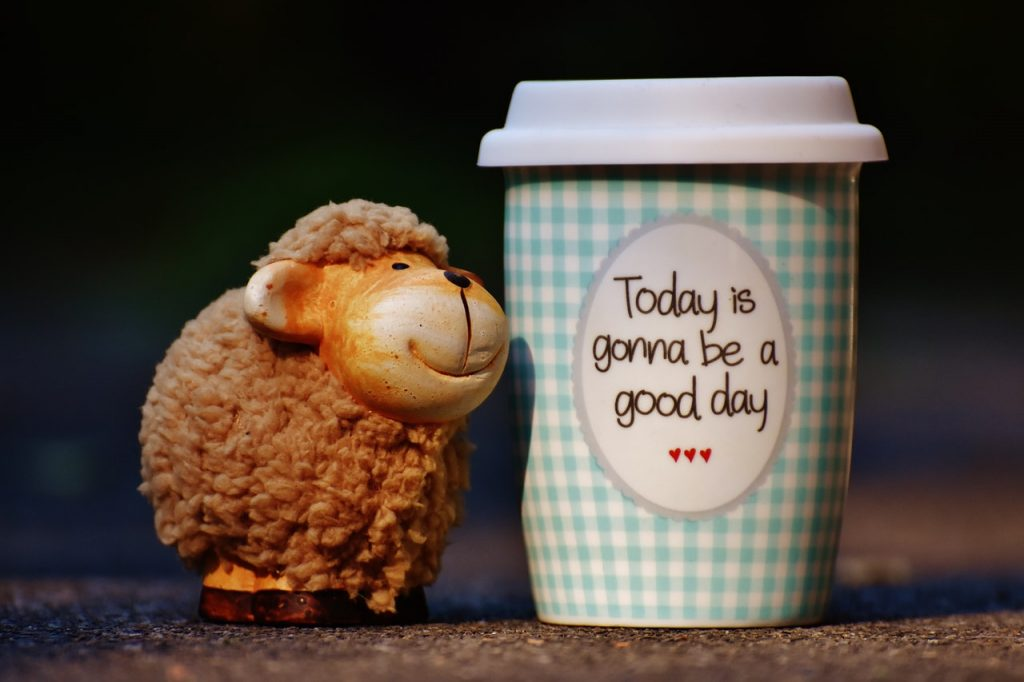 Cup with words: today is gonna be a good day!
